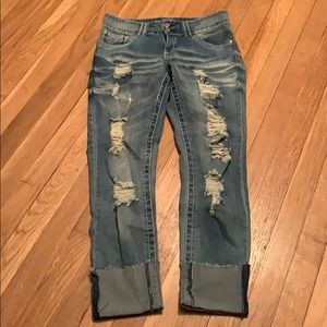 Almost Famous Distressed Ankle Cuff Jeans 5
